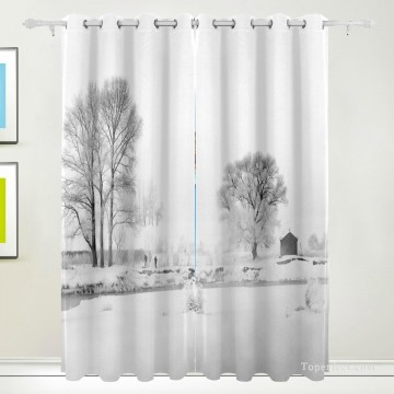 Personalized Curtain for Door Window Draperies Thick Blackout 2 Panels Wall Art Hanging Black and White Landscape Photograph USD55 3 1 Oil Paintings