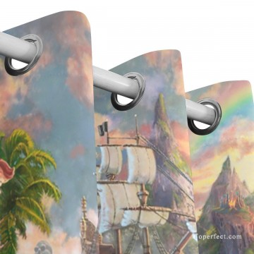 Personalized Curtain for Door Window Draperies Thick Blackout 2 Panels Wall Art Hanging Disney Peter Pan Never Land USD55 5 2 Oil Paintings