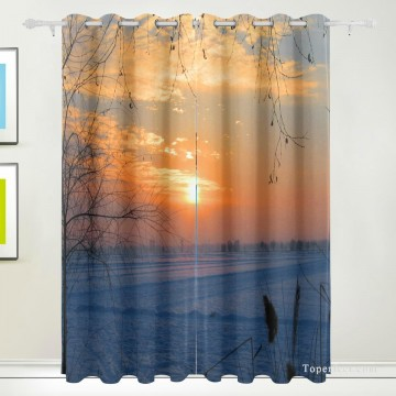 Frame Painting - Personalized Curtain for Door Window Draperies Thick Blackout 2 Panels Wall Art Hanging Sunset at Snowland Photograph USD55 4 1