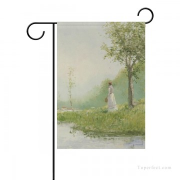 bath girl oil painting Painting - Personalized Garden Flag for Courtyard Flower Pots Patio oil painting Gazing girl USD9 18 3