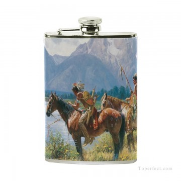 Personalized Stainless Steel Hip Flask Men Carry On Jug Small Wine Bottle Print on Leather American wild west oil painting In USD17 5 1 Oil Paintings