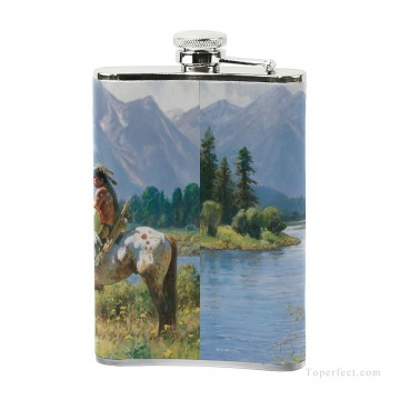 Personalized Stainless Steel Hip Flask Men Carry On Jug Small Wine Bottle Print on Leather American wild west oil painting In USD17 5 3 Oil Paintings