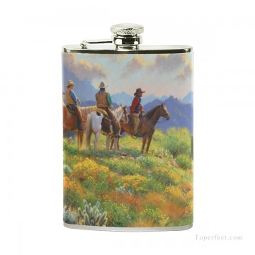 Personalized Stainless Steel Hip Flask Men Carry On Jug Small Wine Bottle Print on Leather American wild west oil painting co USD17 6 1 Oil Paintings