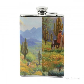 Personalized Stainless Steel Hip Flask Men Carry On Jug Small Wine Bottle Print on Leather American wild west oil painting co USD17 6 3 Oil Paintings