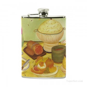 Personalized Stainless Steel Hip Flask Men Carry On Jug Small Wine Bottle Print on Leather Food Still Life by Botero USD17 2 1 Oil Paintings
