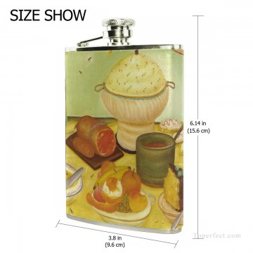 Personalized Stainless Steel Hip Flask Men Carry On Jug Small Wine Bottle Print on Leather Food Still Life by Botero USD17 2 2 Oil Paintings