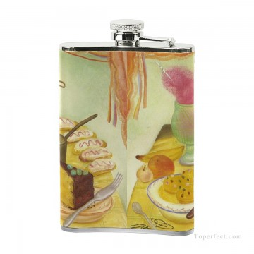 Personalized Stainless Steel Hip Flask Men Carry On Jug Small Wine Bottle Print on Leather Food Still Life by Botero USD17 2 3 Oil Paintings