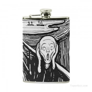 Personalized Stainless Steel Hip Flask Men Carry On Jug Small Wine Bottle Print on Leather The Scream by Edvard Munch USD17 4 1 Oil Paintings