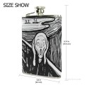 Personalized Stainless Steel Hip Flask Men Carry On Jug Small Wine Bottle Print on Leather The Scream by Edvard Munch USD17 4 2