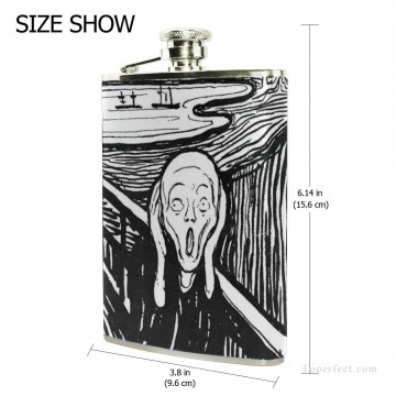 Personalized Stainless Steel Hip Flask Men Carry On Jug Small Wine Bottle Print on Leather The Scream by Edvard Munch USD17 4 2 Oil Paintings
