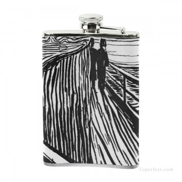 Personalized Stainless Steel Hip Flask Men Carry On Jug Small Wine Bottle Print on Leather The Scream by Edvard Munch USD17 4 3 Oil Paintings