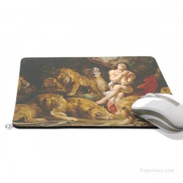 Frame Painting - Personalized Mousepad Mouse Mat Non Slip Rubber Base for Laptop Computer PC Daniel in the Lions Den USD6 2