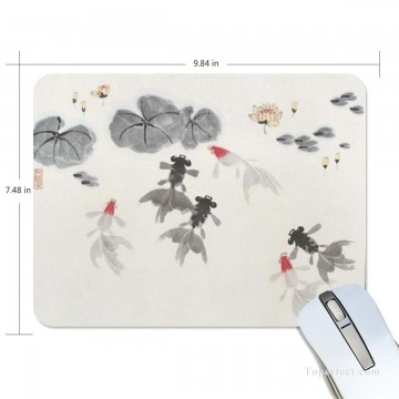 Personalized Mousepad Mouse Mat Non Slip Rubber Base for Laptop Computer PC Goldfish and Lotus USD6 1 Oil Paintings