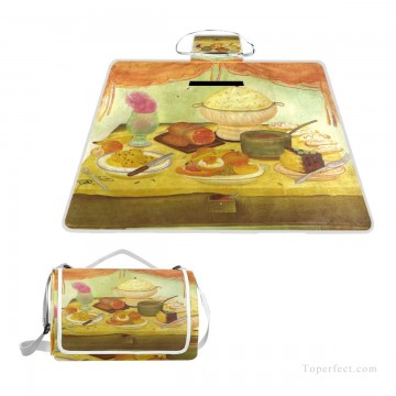picnic Painting - Personalized Portable Picnic Mat with Strap Handle Outdoor Picnic Cloth Rug Yoga Mat Still Life USD27 1