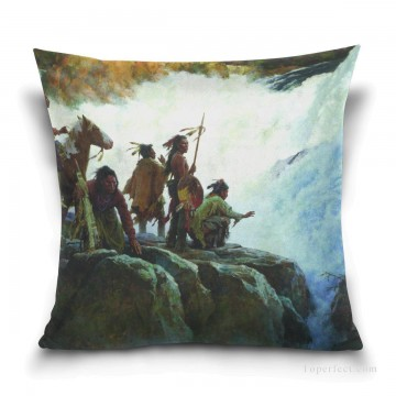 waterfall Painting - Personalized Throw Pillow Covers Cotton Velvet Super Soft American Indians by Waterfall USD9 1