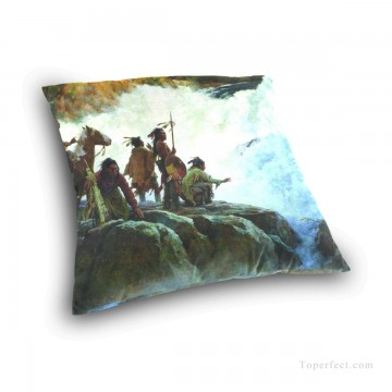 waterfall Painting - Personalized Throw Pillow Covers Cotton Velvet Super Soft American Indians by Waterfall USD9 3