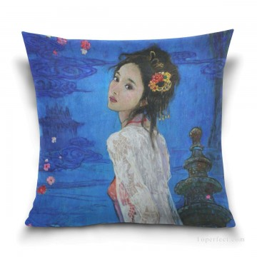 Frame Painting - Personalized Throw Pillow Covers Cotton Velvet Super Soft Chinese Girl USD9 1