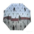 Personalized Automatic Umbrella Windproof Travel Belgian Surrealism painting Gonconda USD19 1