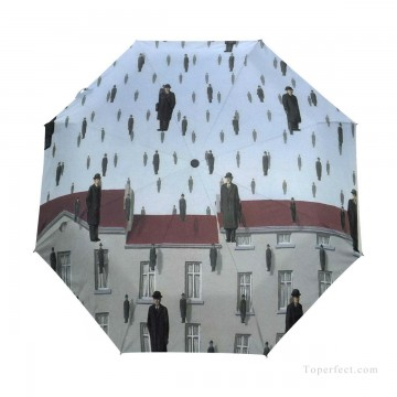 Personalized Automatic Umbrella Windproof Travel Belgian Surrealism painting Gonconda USD19 1 Oil Paintings