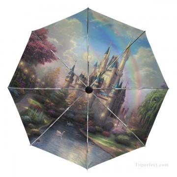 Personalized Automatic Umbrella Windproof Travel Disney painting A New Day at the Cinderella Castle USD19 3 Oil Paintings