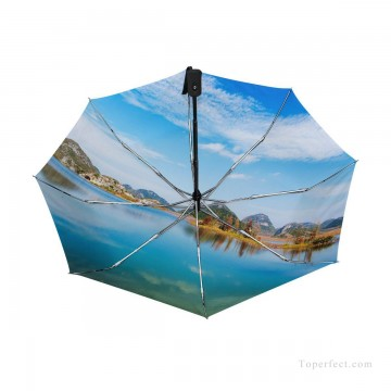 Personalized Automatic Umbrella Windproof Travel Lake Landscape Photograph USD19 1 Oil Paintings
