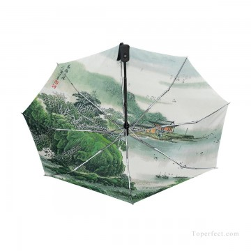 Personalized Automatic Umbrella Windproof Travel traditional Chinese ink painting Suzhou Park USD19 1 Oil Paintings