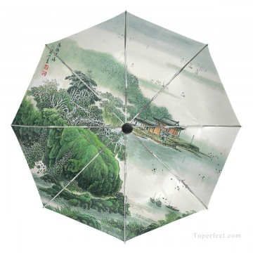 Personalized Automatic Umbrella Windproof Travel traditional Chinese ink painting Suzhou Park USD19 3 Oil Paintings