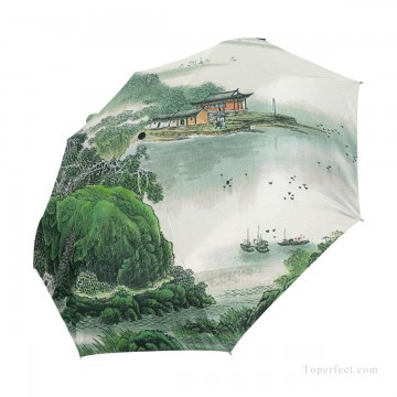 traditional Painting - Personalized Automatic Umbrella Windproof Travel traditional Chinese ink painting Suzhou Park USD19 A3