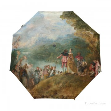 Personalized Automatic Umbrella Windproof classical The Embarkation for Cythera by Watteau USD19 1 Oil Paintings