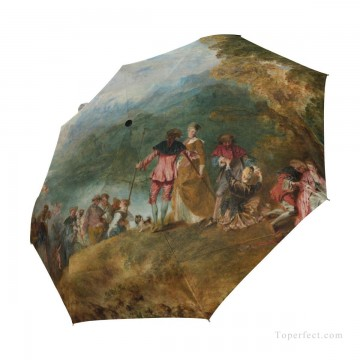 Personalized Automatic Umbrella Windproof classical The Embarkation for Cythera by Watteau USD19 3 Oil Paintings