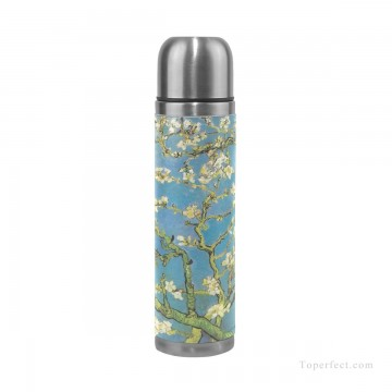 Frame Painting - Personalized Stainless Steel Vacuum Insulated Mug Water Bottle Print on Split Leather Branches With Almond Blossom by van Go USD15 2 1