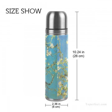 Personalized Stainless Steel Vacuum Insulated Mug Water Bottle Print on Split Leather Branches With Almond Blossom by van Go USD15 2 2 Oil Paintings