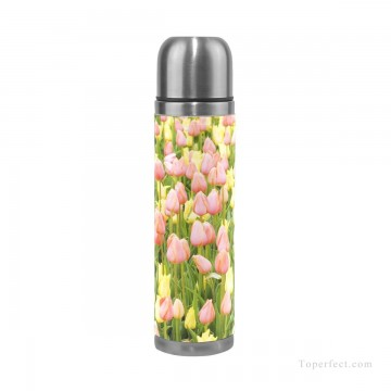 Personalized Stainless Steel Vacuum Insulated Mug Water Bottle Print on Split Leather Pink Tulips Flowers Photograph USD15 4 1 Oil Paintings