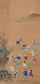 dogs playing poker Painting - Xiong bingzhen playing kids traditional Chinese