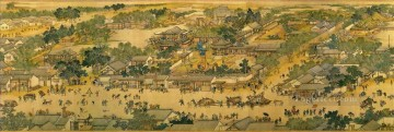 Zhang zeduan Qingming Riverside Seene part 3 traditional Chinese Oil Paintings