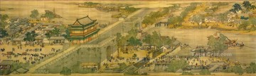 Zhang zeduan Qingming Riverside Seene part 4 traditional Chinese Oil Paintings