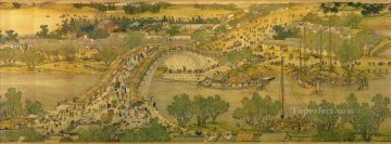 Zhang zeduan Qingming Riverside Seene part 5 traditional Chinese Oil Paintings