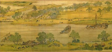 Zhang zeduan Qingming Riverside Seene part 6 traditional Chinese Oil Paintings