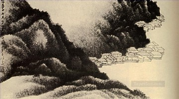 Chinese Painting - Shitao village on the water 1689 traditional Chinese