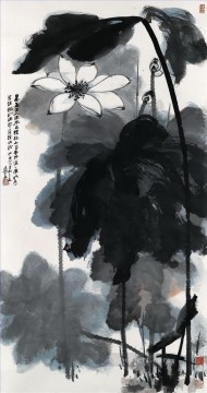 Chinese Painting - Chang dai chien lotus 5 traditional Chinese