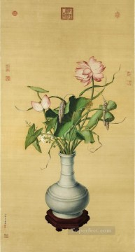 Lang shining lotus of Auspicious traditional Chinese Oil Paintings