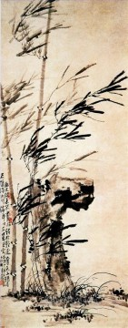 Chinese Painting - Li fangyin bamboo in wind traditional Chinese