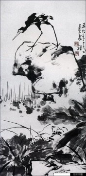 Li kuchan bird on rock traditional Chinese Oil Paintings