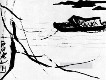 Chinese Painting - Qi Baishi boat traditional Chinese