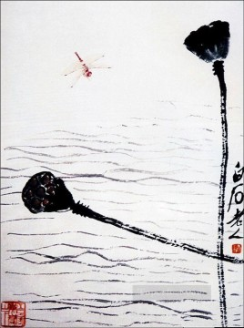 Chinese Painting - Qi Baishi dragonfly and lotus traditional Chinese