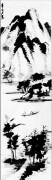 Chinese Painting - Qi Baishi lonely boat traditional Chinese