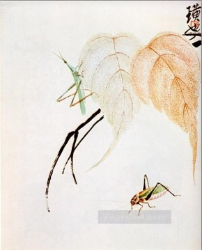Chinese Painting - Qi Baishi praying mantis on a branch traditional Chinese