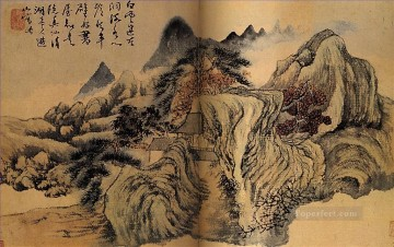 Chinese Painting - Shitao autumn the mountain 1699 traditional Chinese