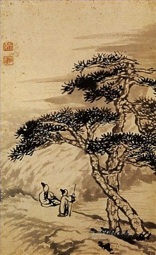 Chinese Painting - Shitao conversation at the edge of the void 1698 traditional Chinese