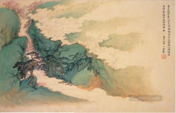 junk in peach blossom traditional Chinese Oil Paintings
